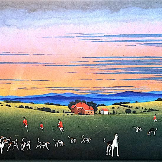 Blue Ridge Hunt Allegory 32x80 polymer on canvas