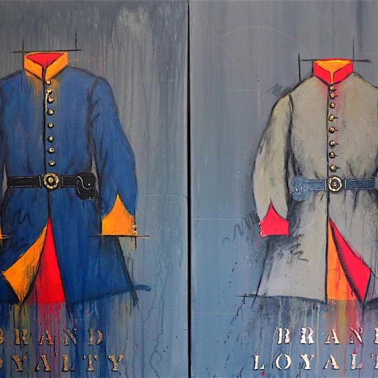 Brand Loyalty-Blue and Gray 48x72 diptych
