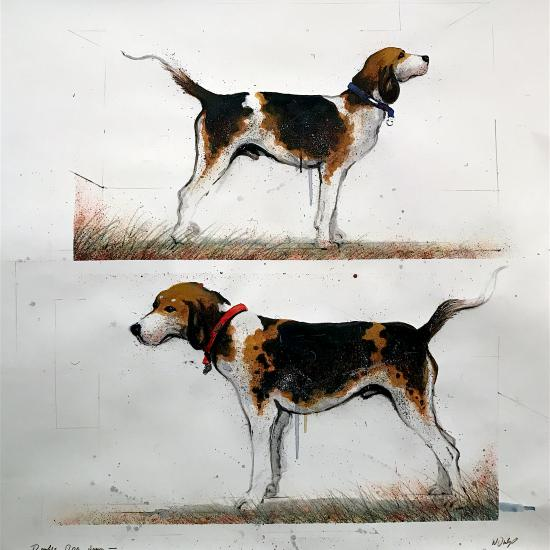 Double Dog Down, oil on paper 42x41