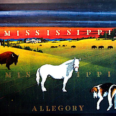 Mississippi Allegory, polymer paint and gold leaf on canvas 52 x 68