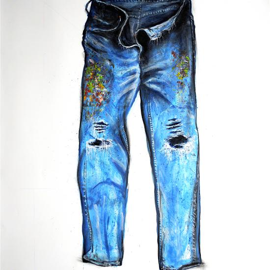 Painters Pants I,  oil and dry pigment on paper 60x42