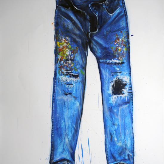 Painters Pants II, oil and dry pigment on paper 60x42